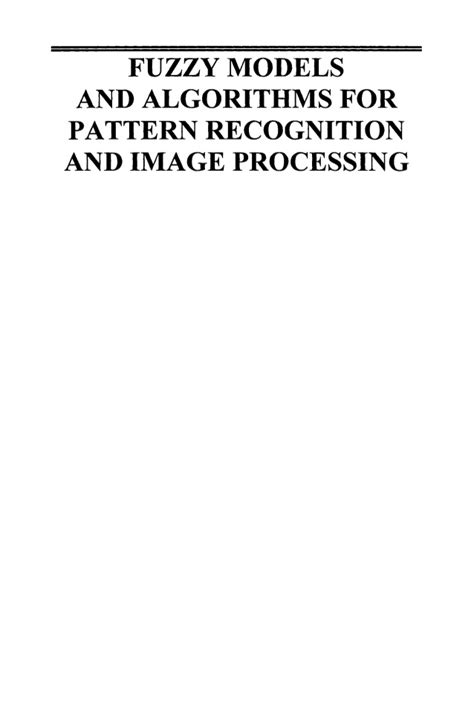 pattern recognition algorithms image processing book fuzzy models and algorithms for pattern recognition