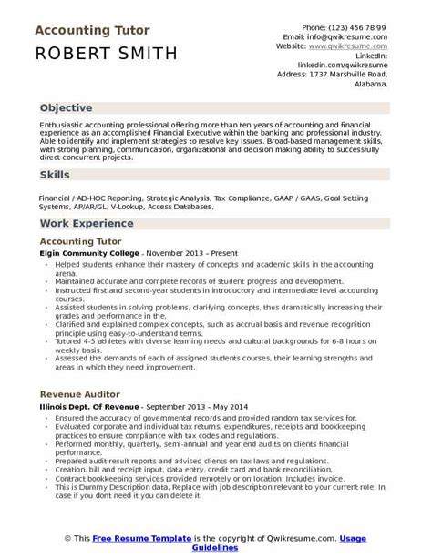 Tutor Responsibilities On Resume by Accounting Tutor Resume Sles Qwikresume