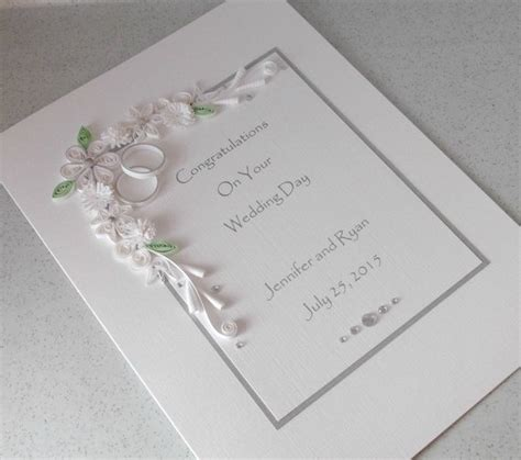 quilled wedding congratulations card by paperdaisycards on etsy - Personalised Wedding Card Etsy