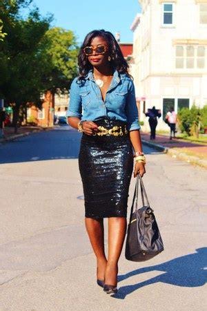 black sequins asos skirts blue chambray nobo shirts