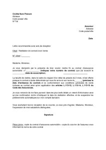 Resiliation Lettre Assurance Auto Exemple Gratuit De Lettre R 233 Siliation Contrat Assurance Automobile 224 Date 233 Ch 233 Ance