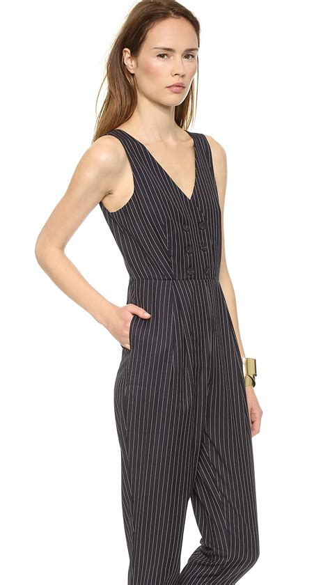 Jumpsuit Darkblue Wis Size 27 30 lyst re named pinstripe jumpsuit navy in blue