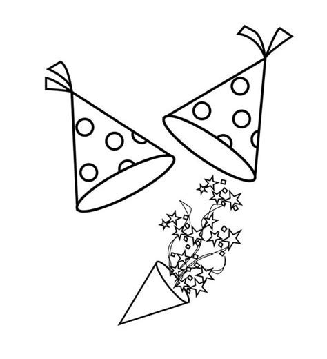 new year hat coloring pages new years hat and blower for new years party coloring page