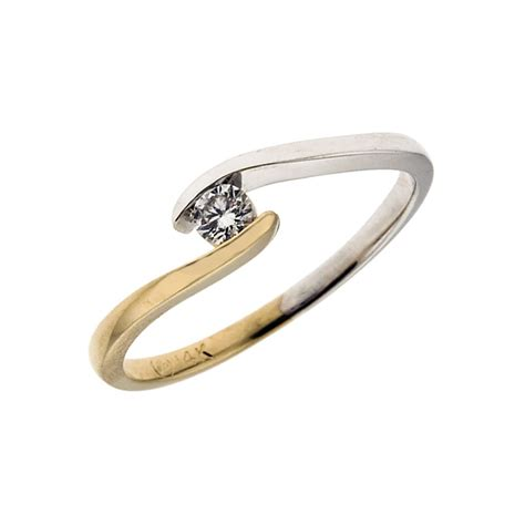 9ct white yellow gold 0 15ct twist ring