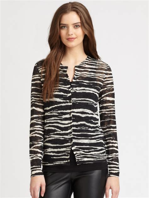 Cardigan Stripe Black White m missoni zebrastripe cardigan sweater in animal black white stripe lyst