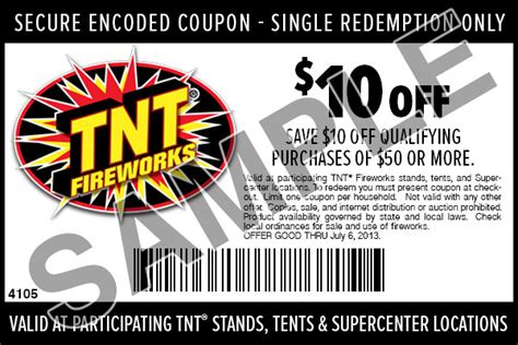 Tnt Sweepstakes - tnt fireworks coupon 10 off 50 purchase