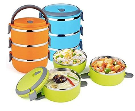 Rantang Susun 3 Baris Stainless Steel Fresh Food Tahan Hangat Teta stackable lunch containers towels and other kitchen