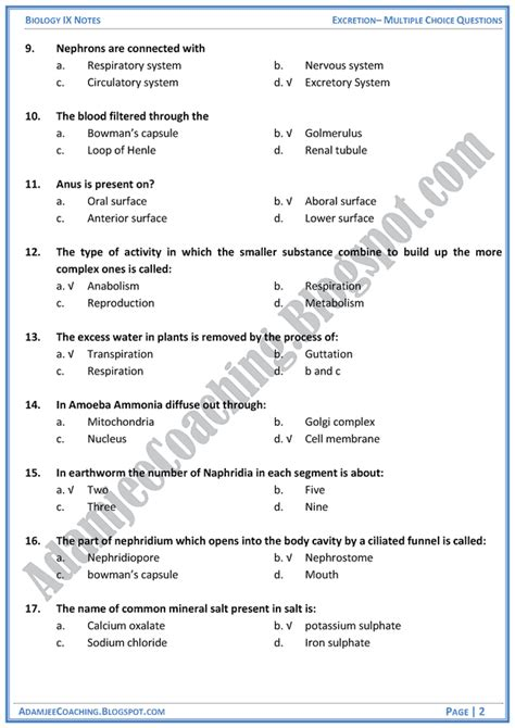 Mba Mcq Questions With Answers by Adamjee Coaching Excretion Mcqs Biology Notes For