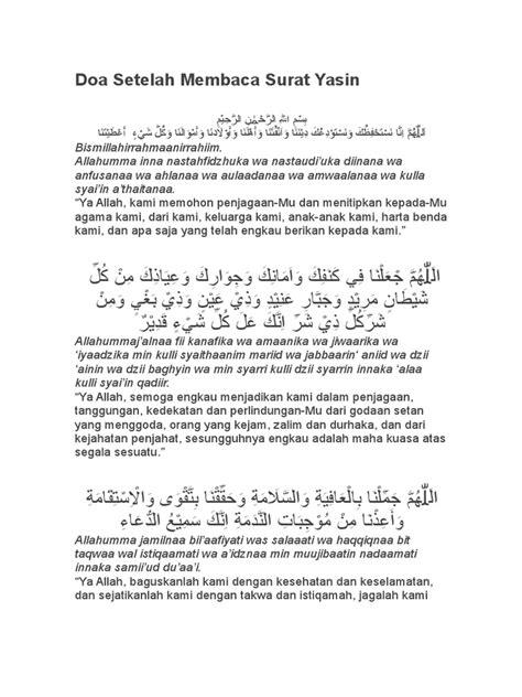 Doa Setelah Membaca Surat Yasin