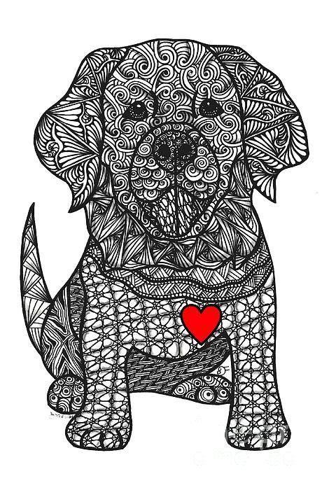 gentle giant golden retriever art print doodles