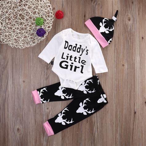 2016 autumn spring baby 3pcs daddys little girl 3pcs newborn toddler baby girls tops romper long