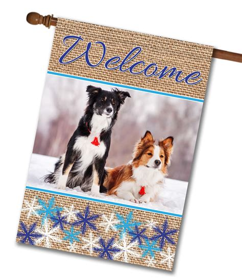 House Flags by Snowflakes Burlap Photo House Flag 28 X 40