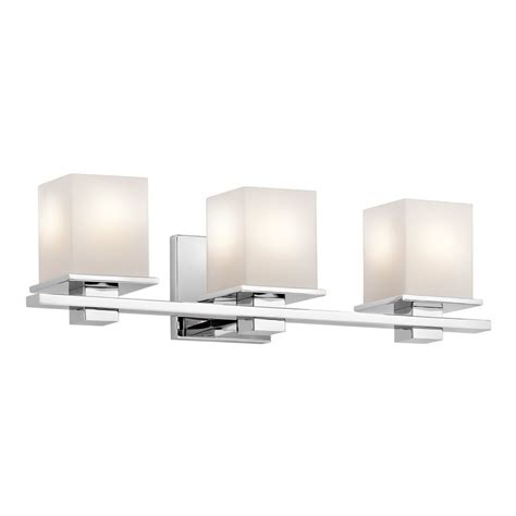 Chrome Bathroom Lights Shop Kichler Lighting 3 Light Tully Chrome Transitional Vanity Light At Lowes