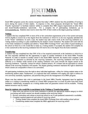 Transfer During Mba by Fillable Usfca Jesuit Mba Transfer Form Usfca Fax
