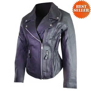 Motorcycle Jacket S Classic Braided Biker Leather Motorcycle Jacket