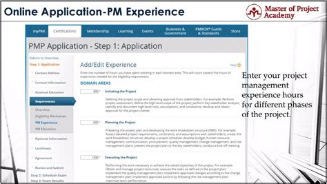master of project academy pmp application steps