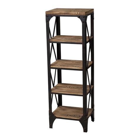 industrial storage shelves titan lighting 5 shelf industrial wood and iron shelving unit tn 892732 the home depot