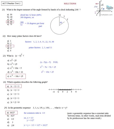 act math section practice math plane act practice test 2