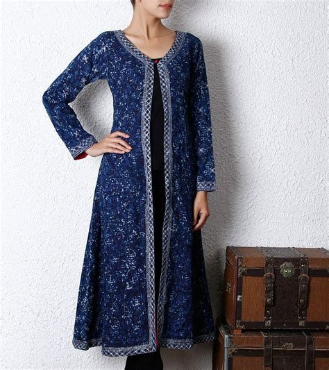 jacket pattern kurta for ladies indigo cotton long jacket kurta designs pinterest