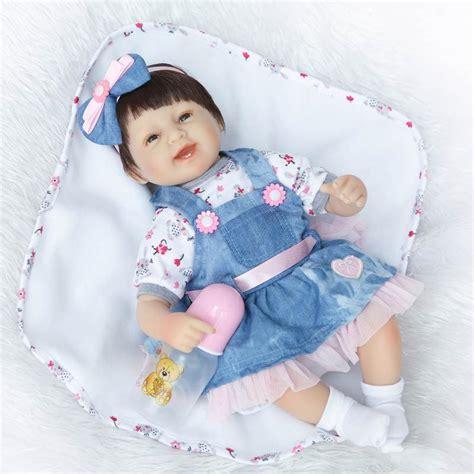 Baby Doll Denim Biru Tua 18inch baby doll reborn cloth silicone reborn babies toys with denim skirt