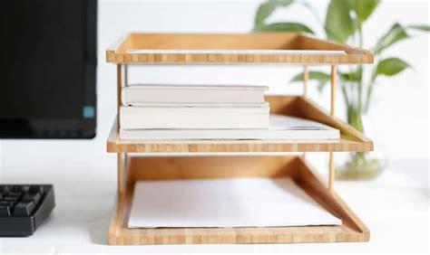bamboo multi tier desk organizer tray letter file holder