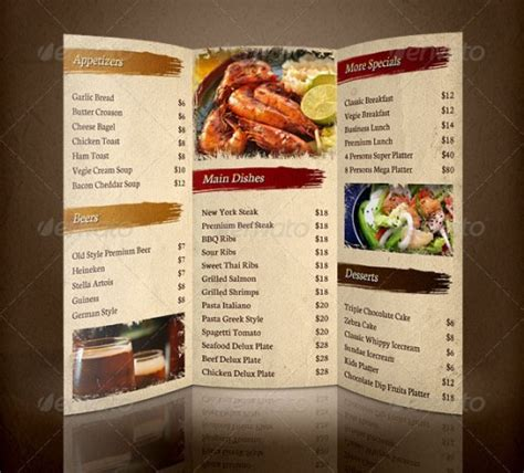 Menu Brochure Template Free 15 inspirational food menus designs designdune