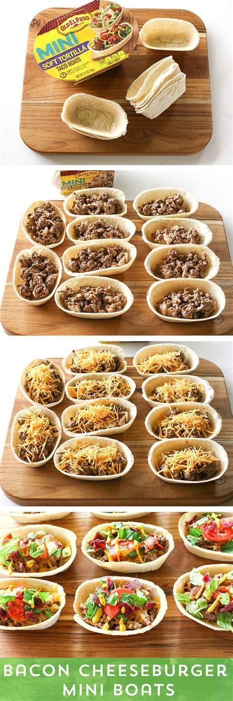 prawn taco boats bacon cheeseburger mini taco boats recipes food mini
