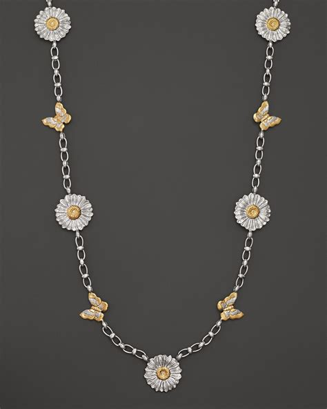 White Gold With Silver Chain 010 lyst buccellati sterling silver and 18k gold and butterfly chain necklace 36 in metallic