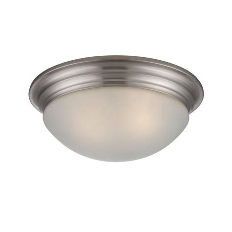 glomar tony 2 light brushed nickel flush mount cli