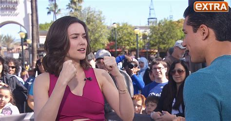 Extra Tv Show Giveaway - the blacklist s megan boone shows mario lopez how to take a fake punch extratv com