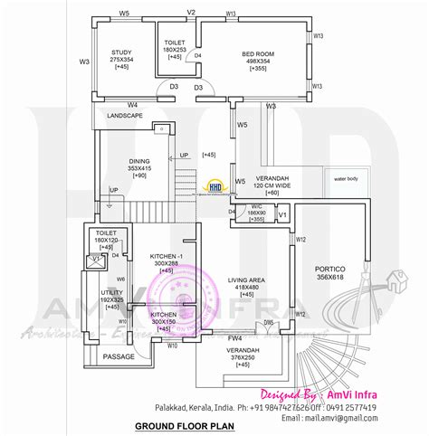 House Plans by Modern 4 Bhk House Plan In 2800 Sq Kerala Home