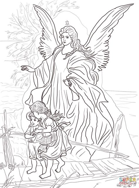 realistic angel coloring pages children are protected by guardian angel coloring page