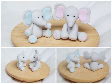 Handmade Clay Sculptures - baby elephant sculptures handmade polymer clay by
