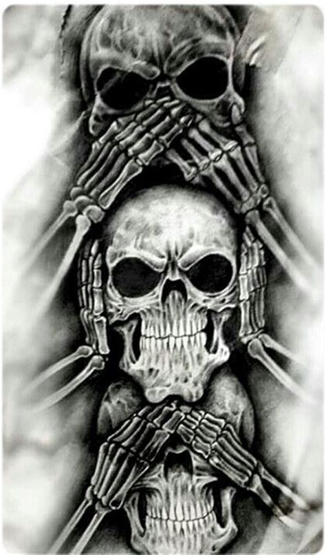 no evil tattoo designs see no evil hear no evil speak no evil skull designs