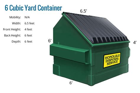 Cubic Yard Of Containers Honolulu Disposal Service