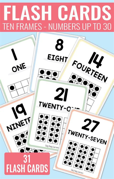 Ten Frame Printable Flash Cards