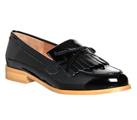 Maharani Loafer Flats Dir Co office limelight fringe loafers black patent leather flats