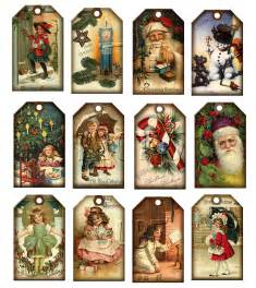 christmas vintage art hang gift tags santa claus candy cane