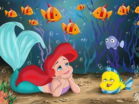 wallpaper disney little mermaid little mermaid disney cartoon fishes hd wallpaper
