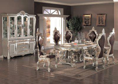 metallic finish traditional pc formal dining set woptions