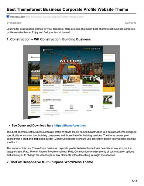 themeforest company profile masbadar com best themeforest business corporate profile