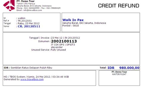 Dokumen Credit Letter travelbos account payable aplikasi travel program