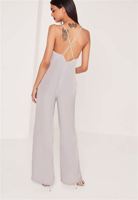 Jumpsuit Greya missguided silky wide leg jumpsuit grey in gray lyst