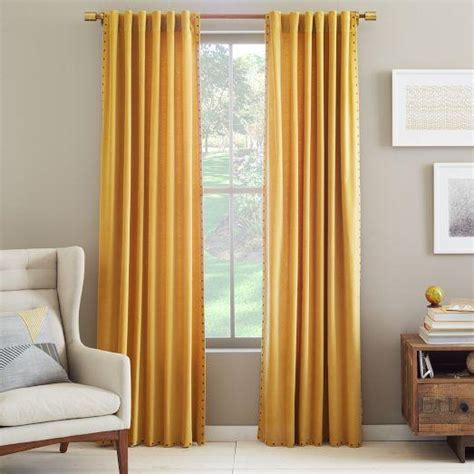 west elm velvet curtains velvet nailhead curtain horseradish west elm