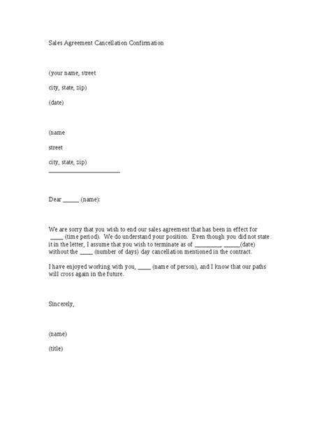 Sle Contract Letter Of Agreement Sales Agreement Cancellation Confirmation Letter Template