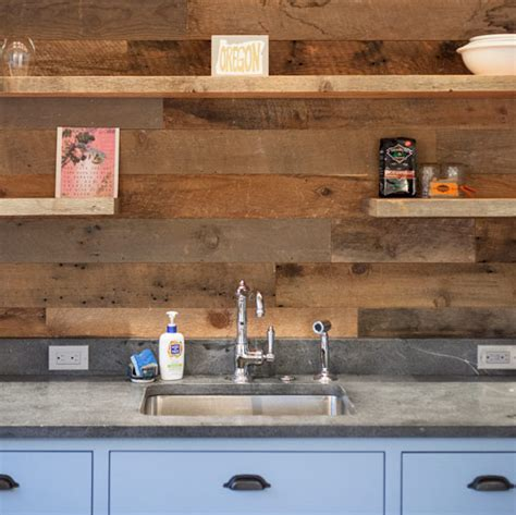 Tiles Backsplash Kitchen project log reclaimed wood walls barn door and bright