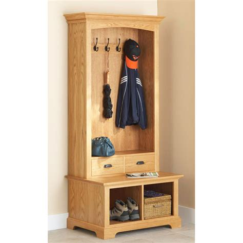 wooden hall tree storage bench hall tree storage bench woodworking plan from wood magazine
