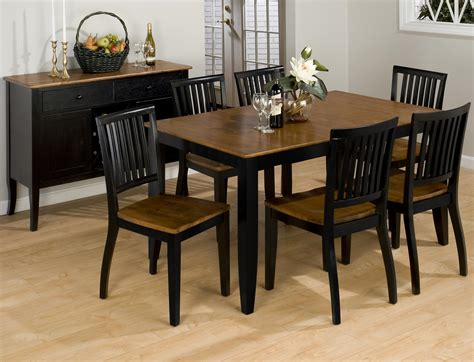 Black Wood Dining Tables Furniture Rectangle Black Wooden Dining Table With Brown Top And Four Black Wooden Dining
