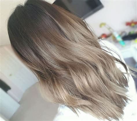 layered medium long length ash brownblonde balayage ombre escaille 1 month faded after dying my hair grey faded from grey