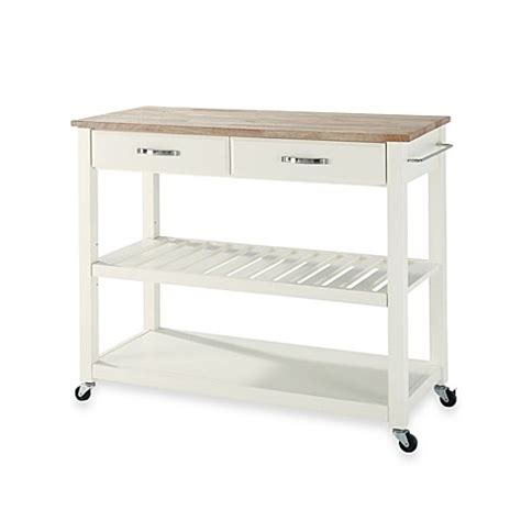 rolling kitchen island cart buy crosley wood top rolling kitchen cart island with removable shelf in white from bed